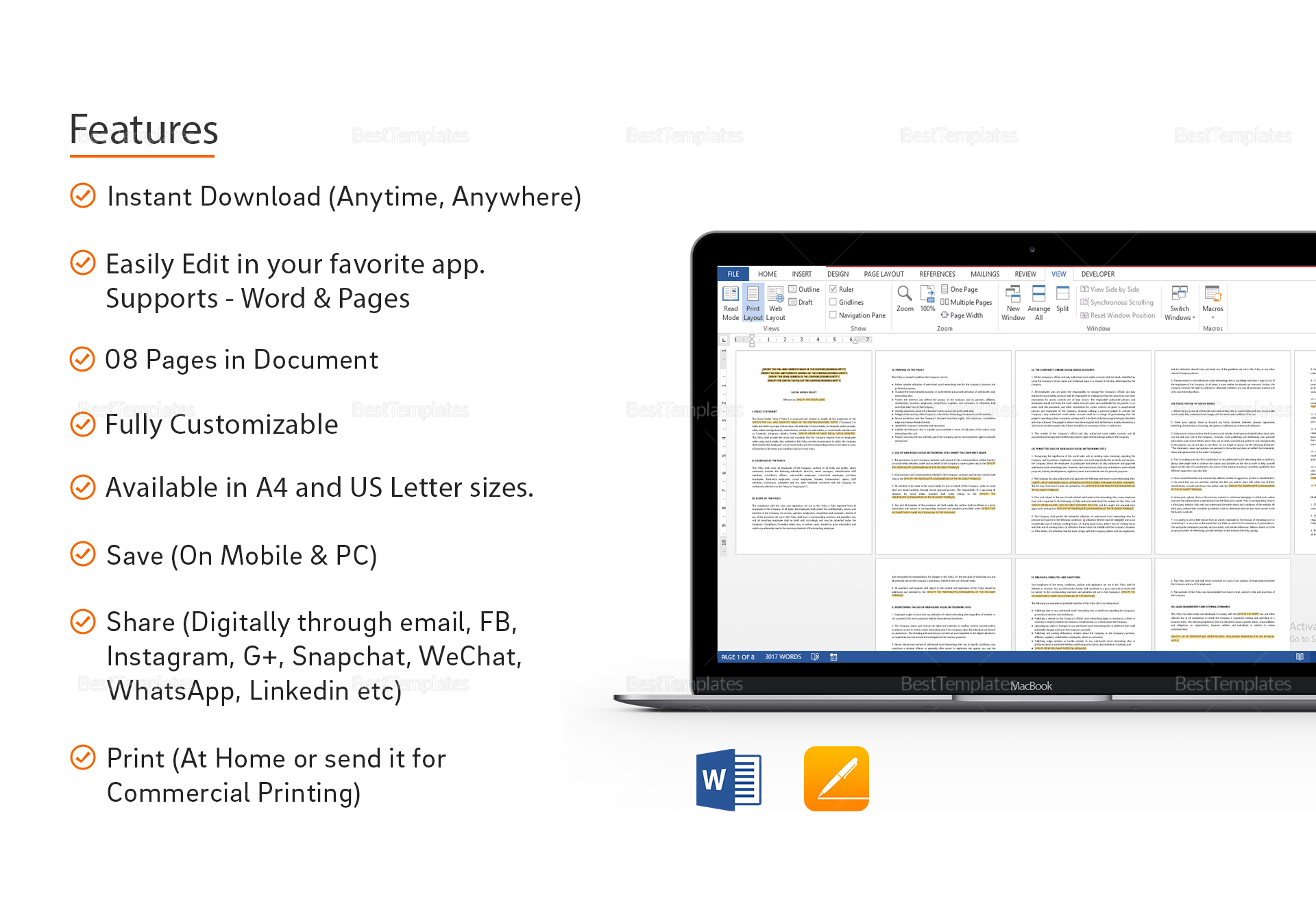 Social Media Policy Template In Word Apple Pages
