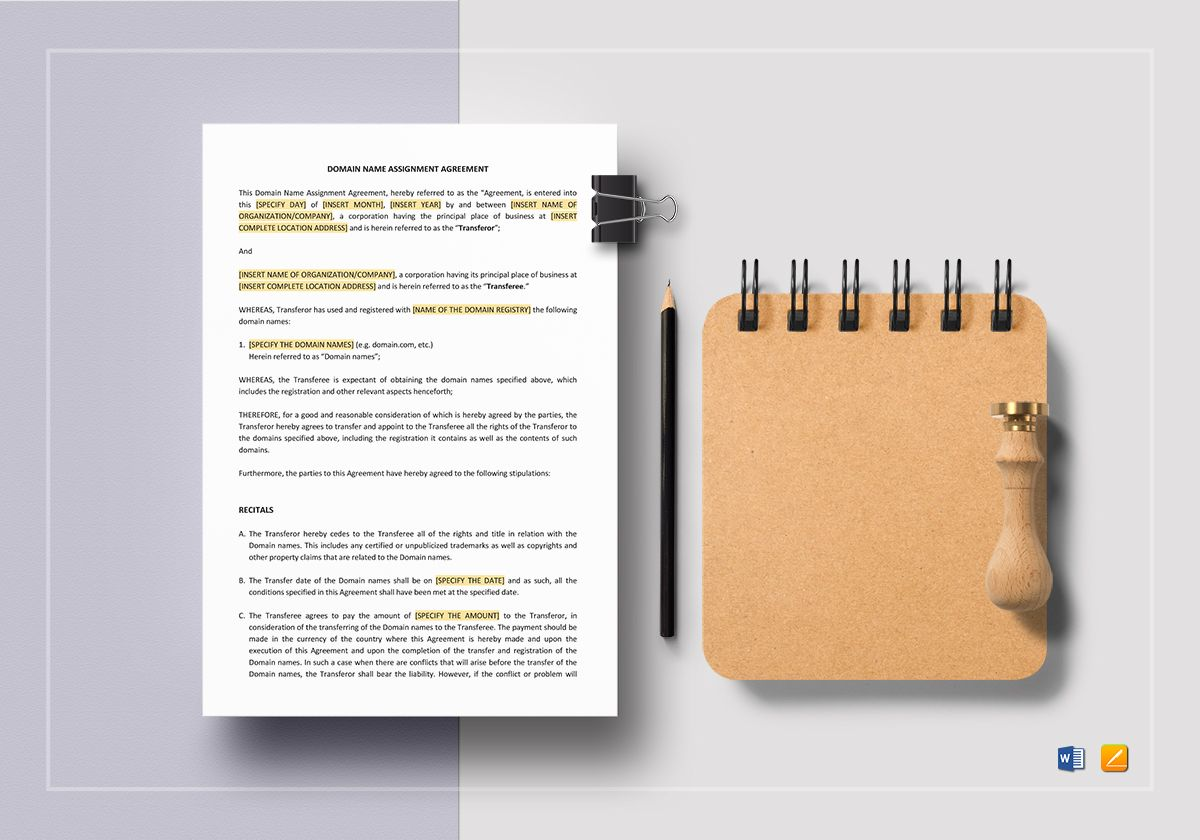 Domain Name Assignment Agreement Template In Word Apple Pages