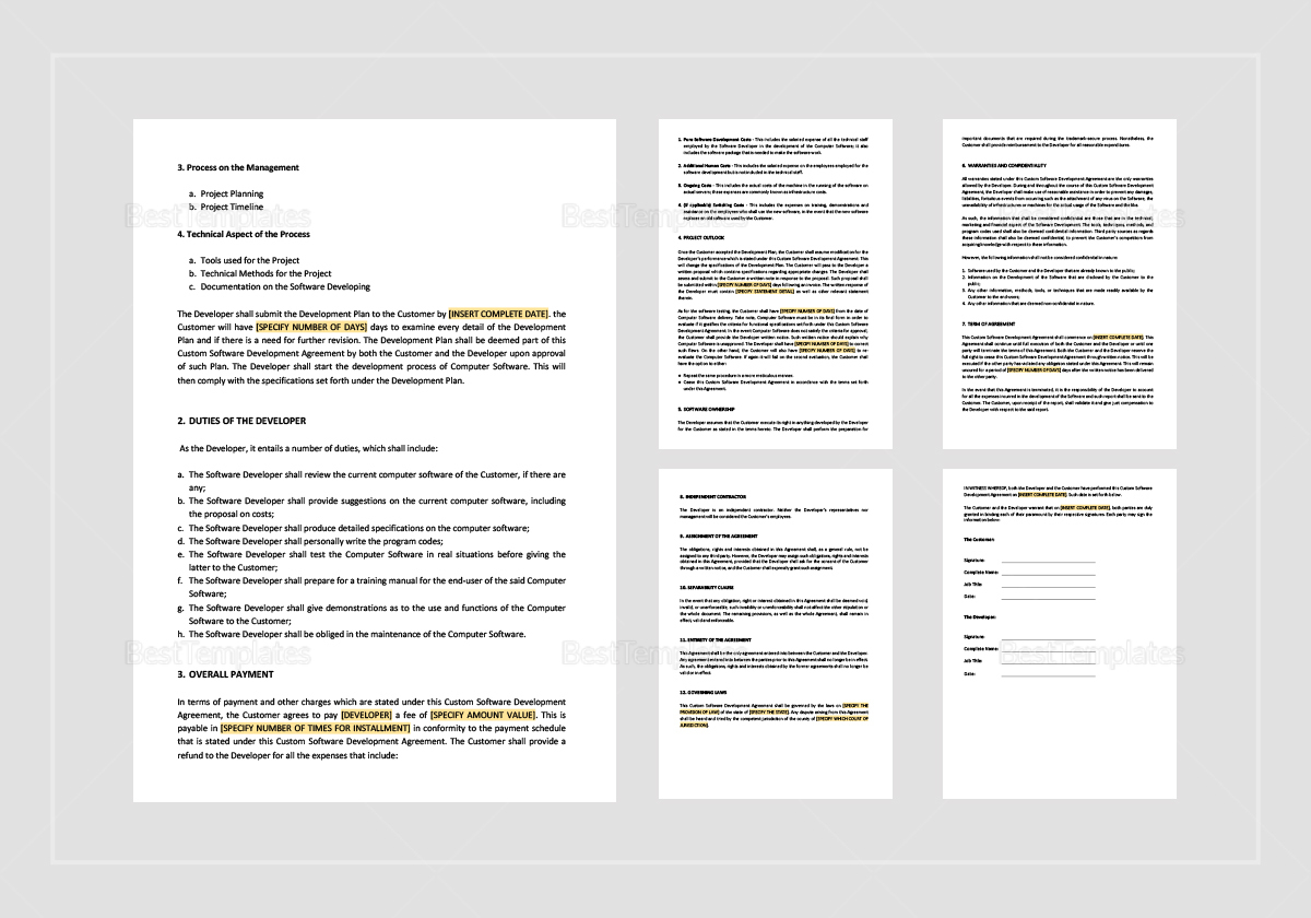 Custom Software Development Agreement Template
