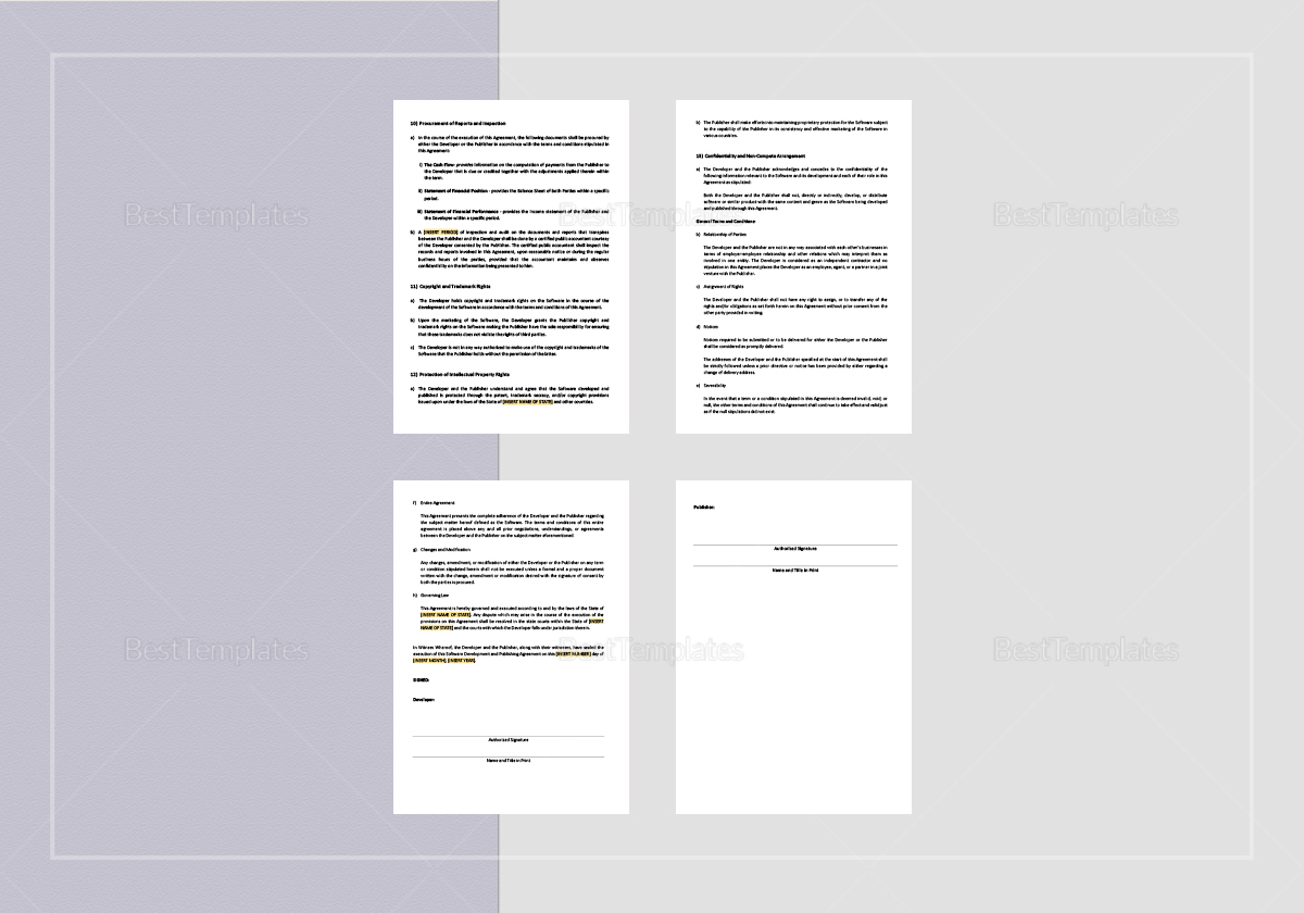 Sample Software Development and Publishing Agreement