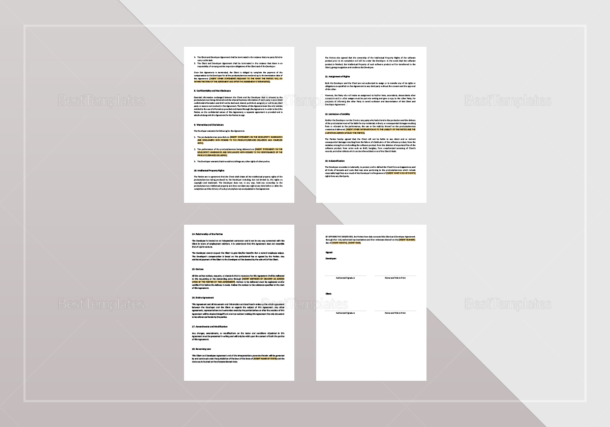 Sample Client and Developer Agreement Template