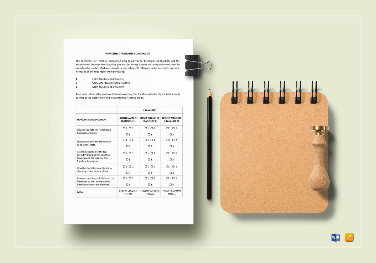 Worksheet Franchise Comparison