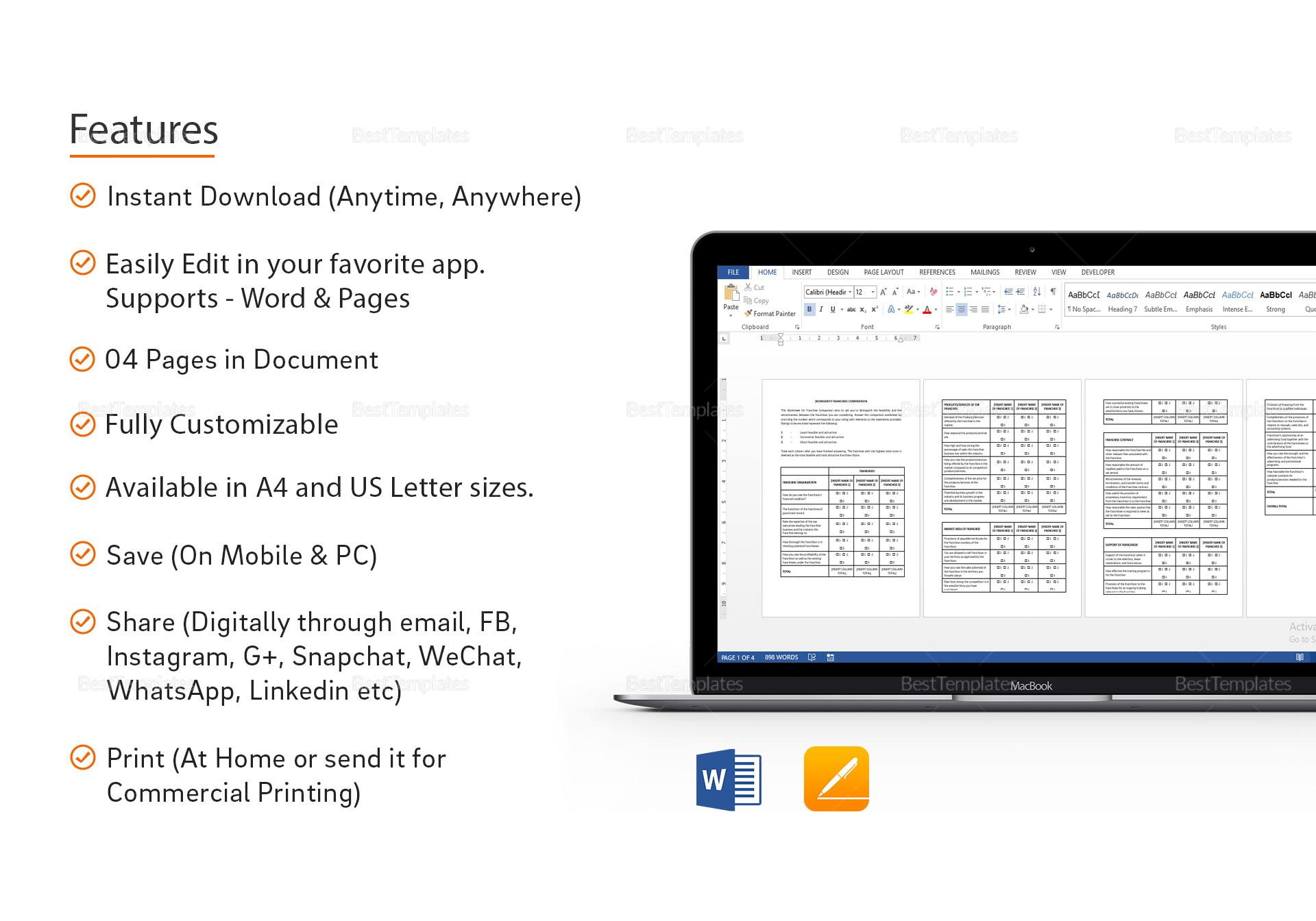 Sample Worksheet Franchise Comparison