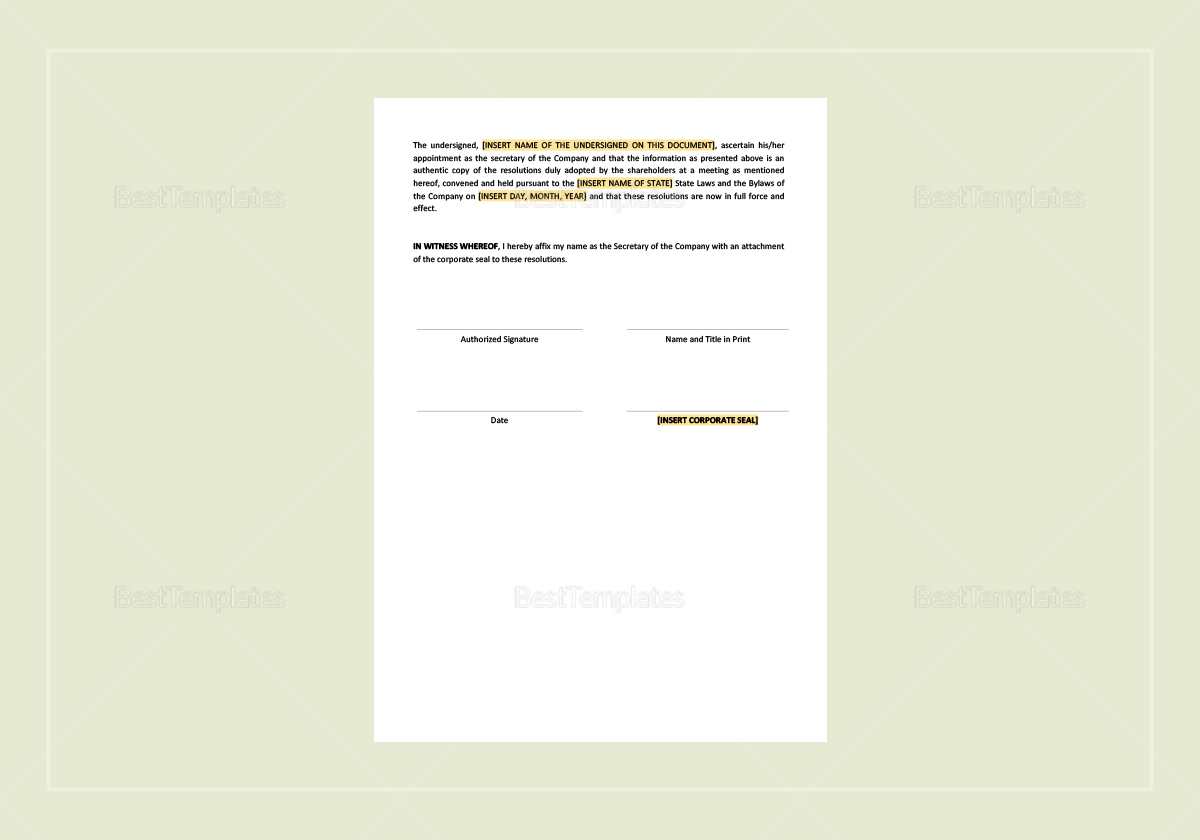 Shareholders Resolution Approving Voluntary Dissolution of the Company Template