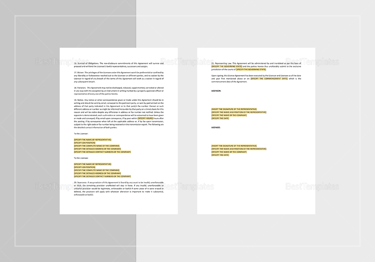 Simple License Agreement Template