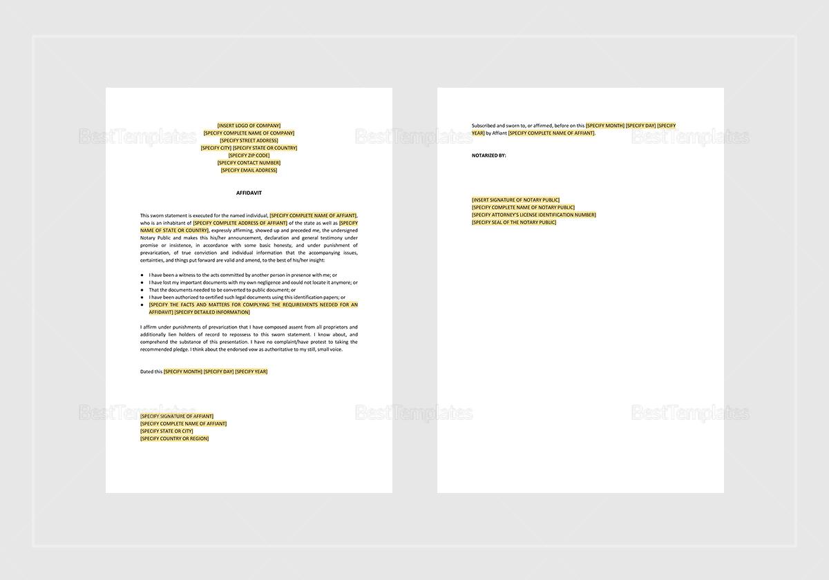 Sample Affidavit Template
