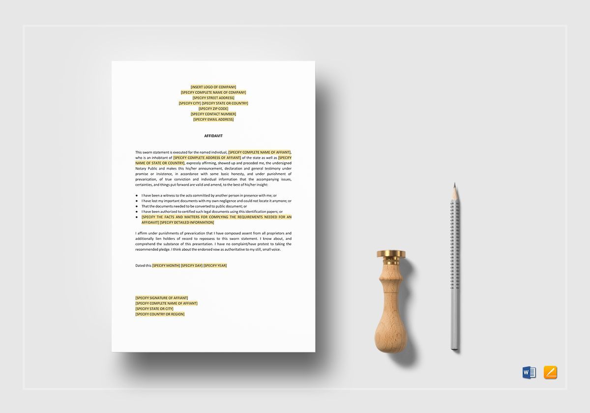 Affidavit Template in Word, Apple Pages
