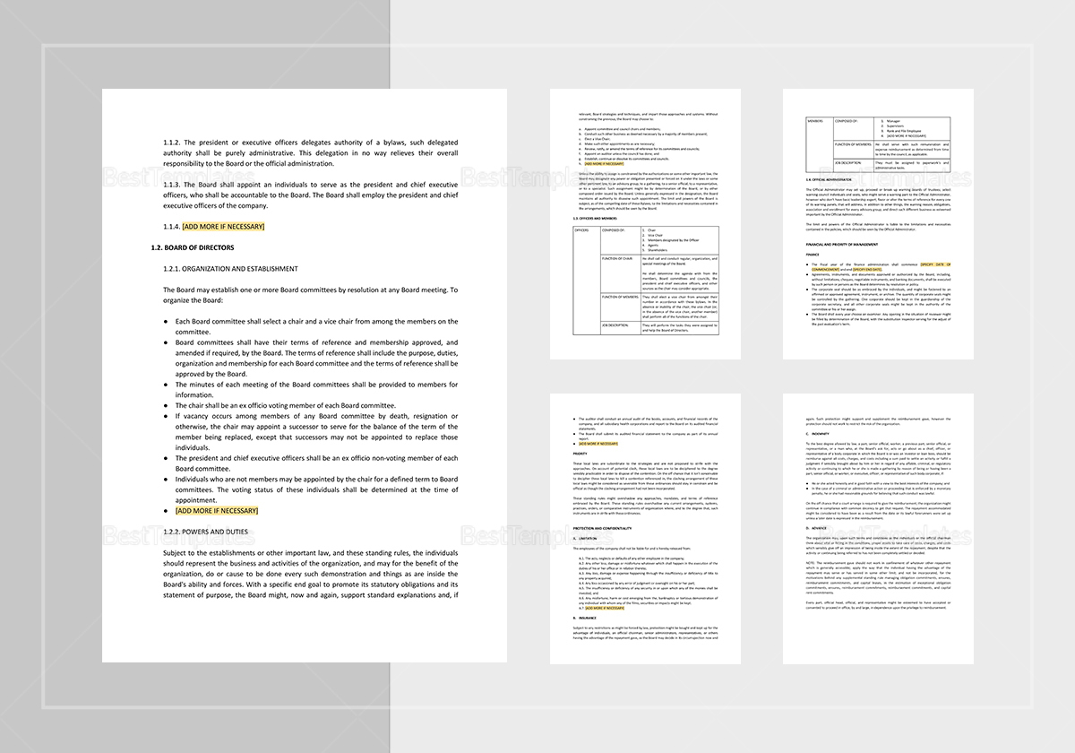 Sample General By-Laws Template