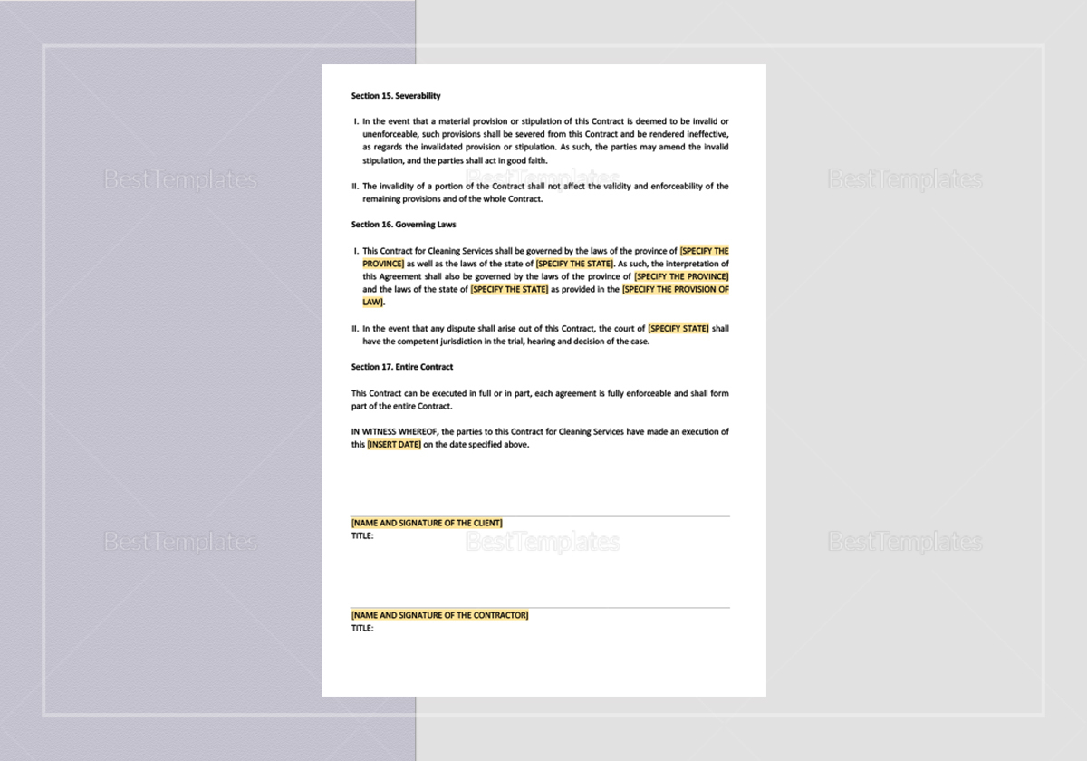 Cleaning Service Company Contract Template