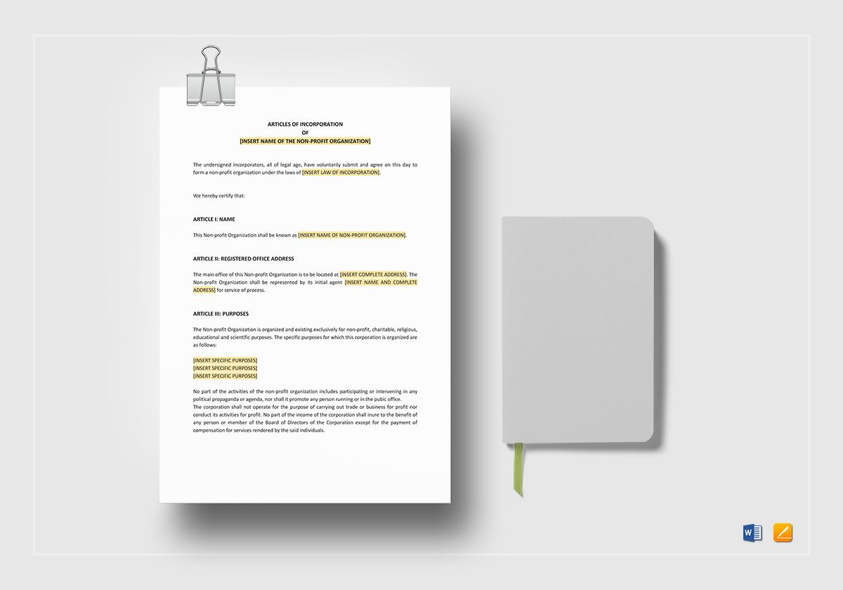 Articles of Incorporation for a non Profit Organisation