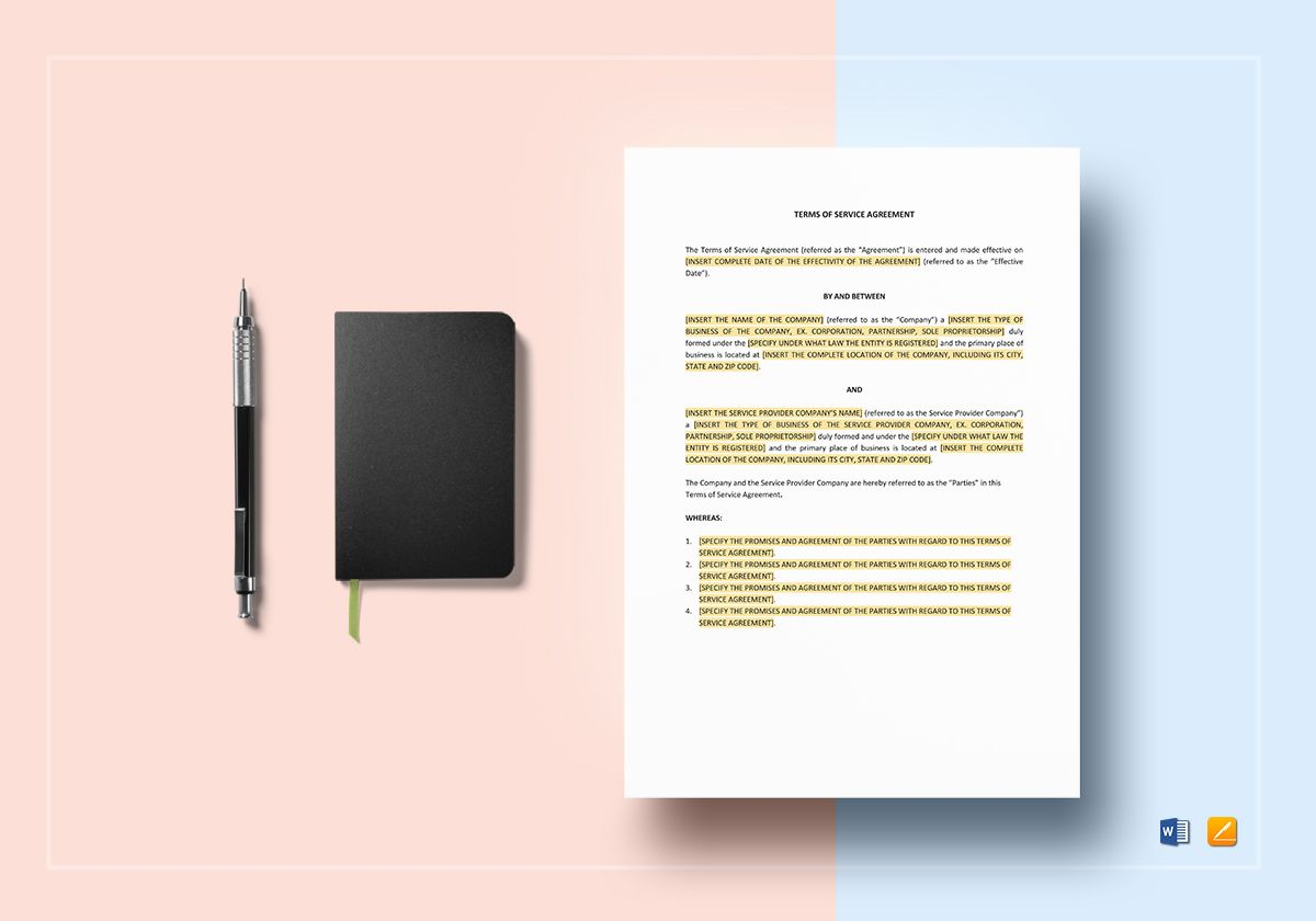 Terms Of Service Agreement Template In Word Apple Pages