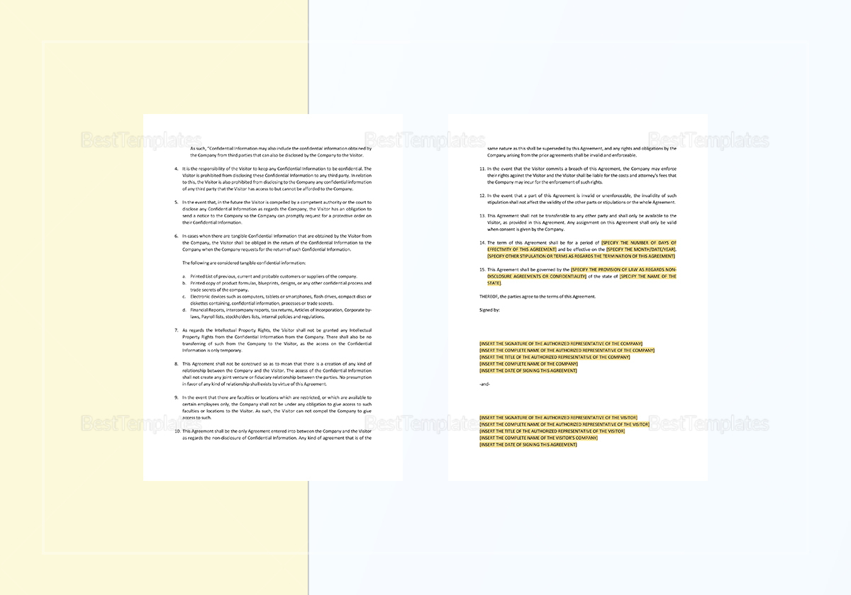 Visitors Non-Disclosure Agreement Template