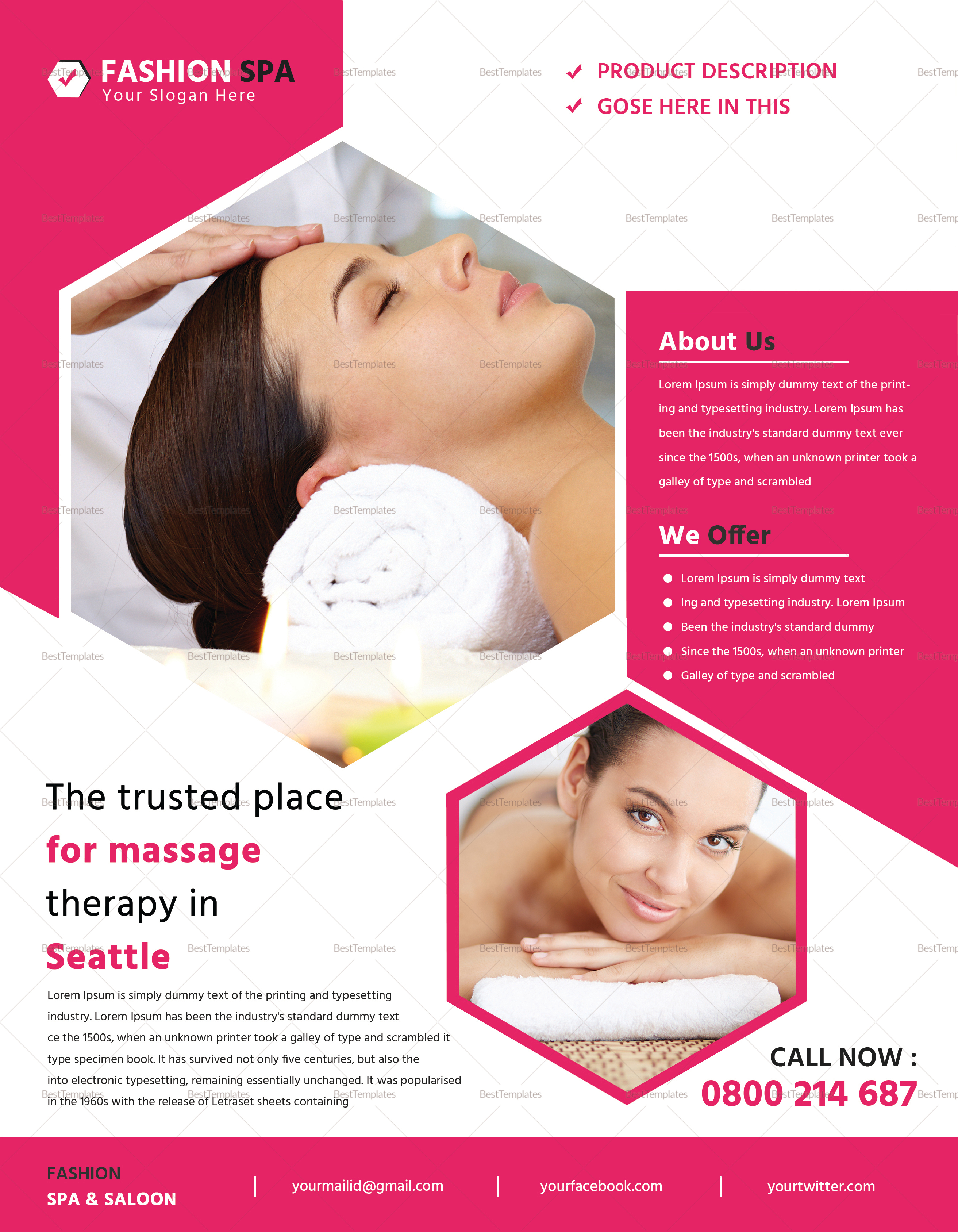 beauty spa flyer design template in psd word publisher