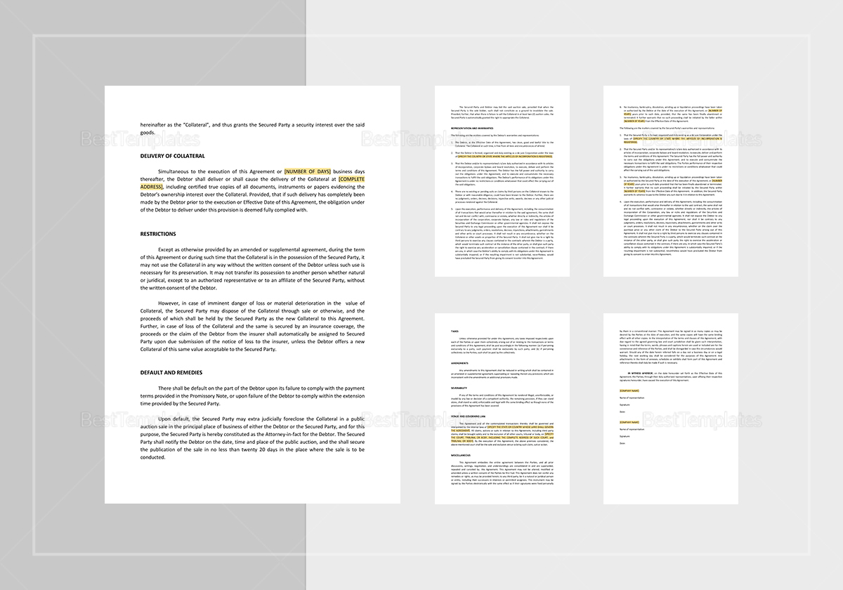 Sample Security Agreement Covering Consumer Goods Template