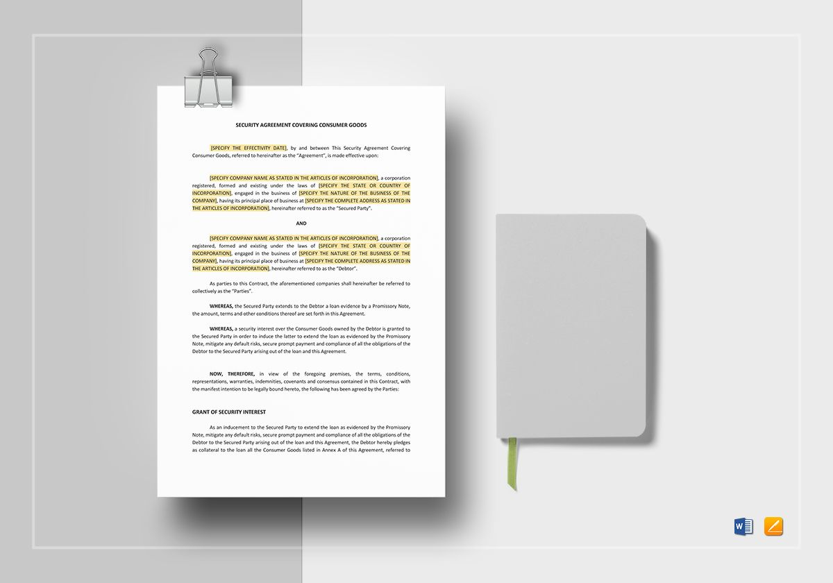 Security Agreement Covering Consumer Goods Template