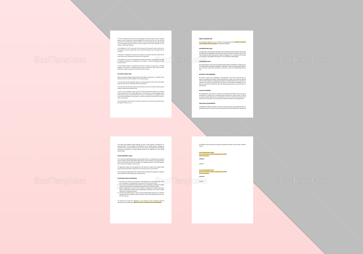 Sample Executive Protection Agreement Change in Control Template