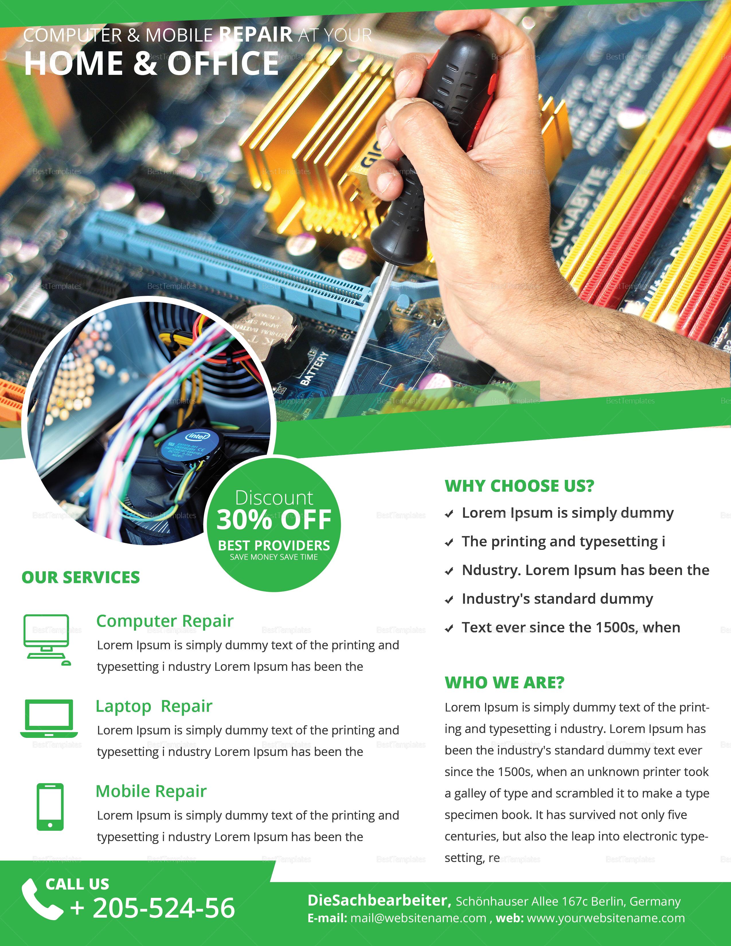 Computer & Mobile Repair Flyer Template 2
