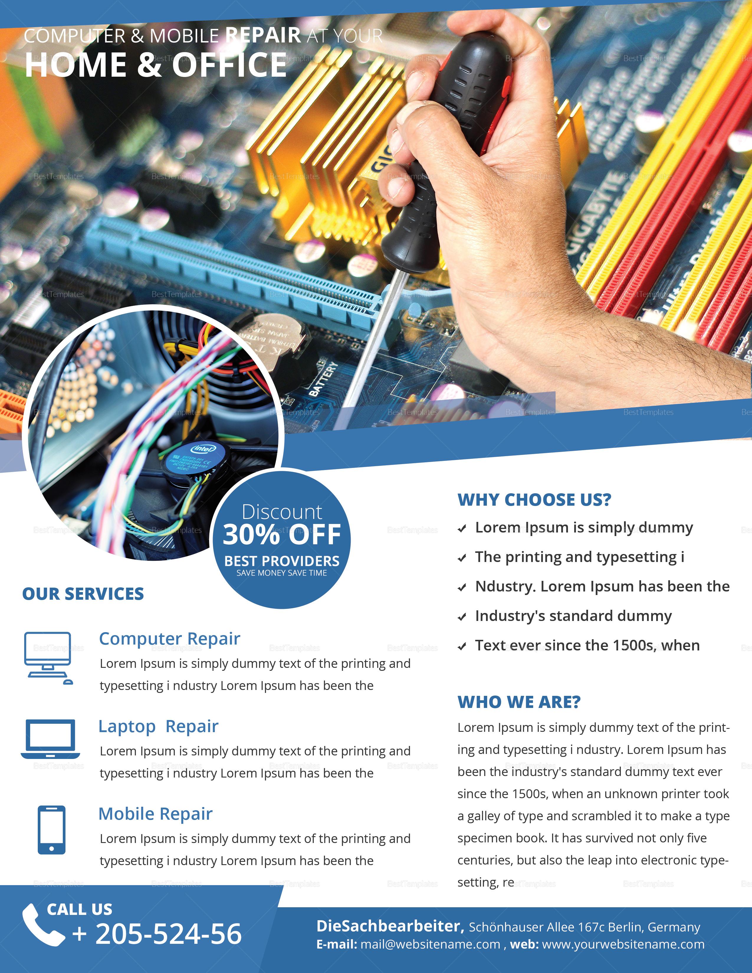Computer & Mobile Repair Flyer Template 3