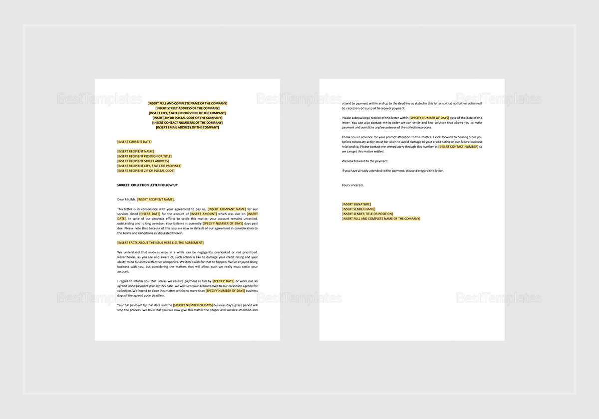 Sample Collection Letter Follow-Up Template
