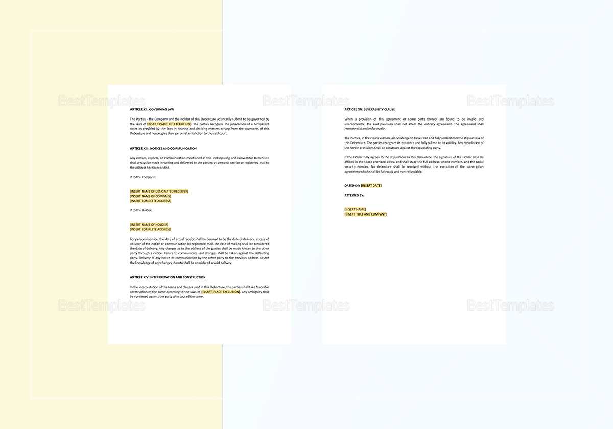 Sample Participating and Convertible Debenture