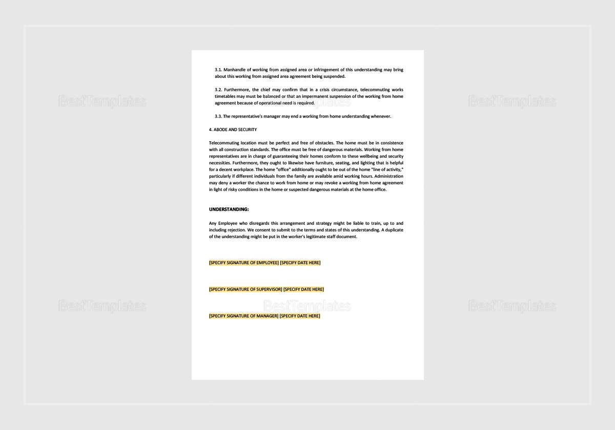 Simple Telecommuting Agreement Template