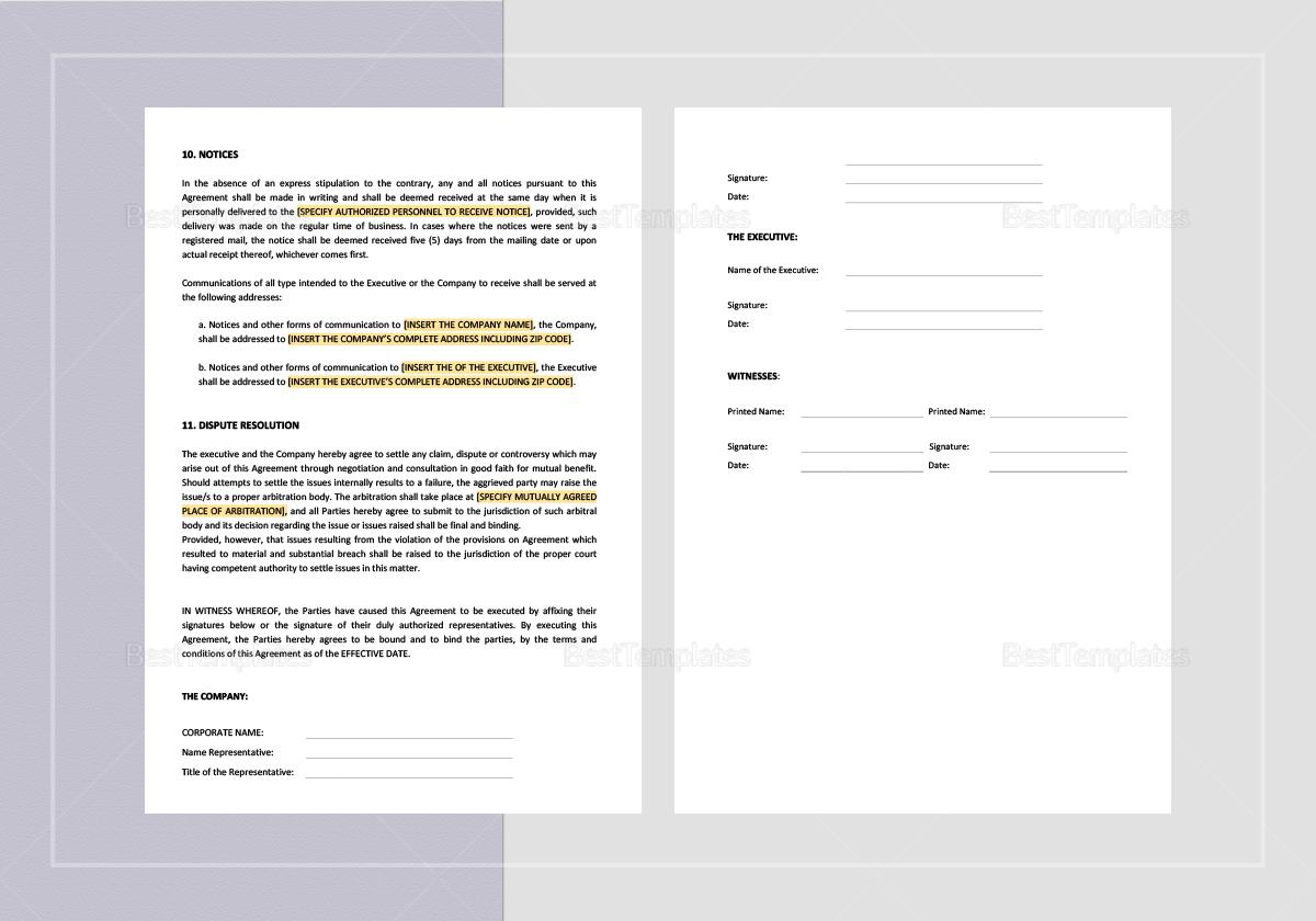 Sample Executive Employment Agreement with Car Allowance Template