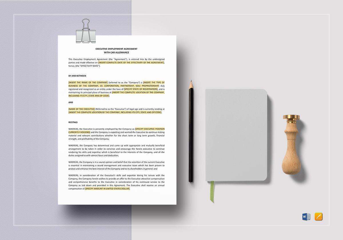 Executive Employment Agreement with Car Allowance