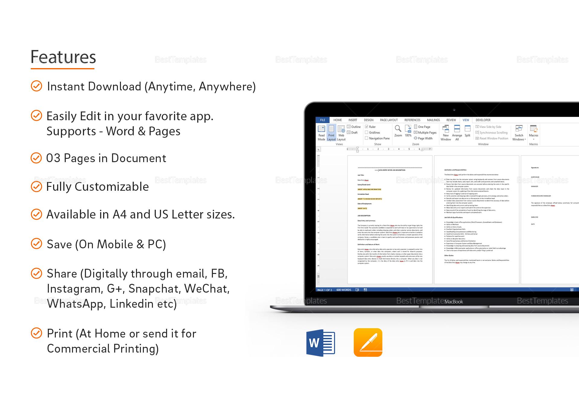 Sample Data Entry Keyer Job Description Template