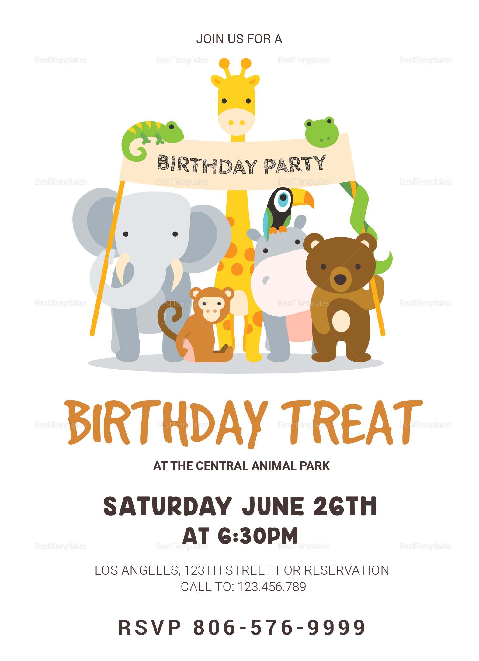 Animals Birthday Invitation Card Design Template