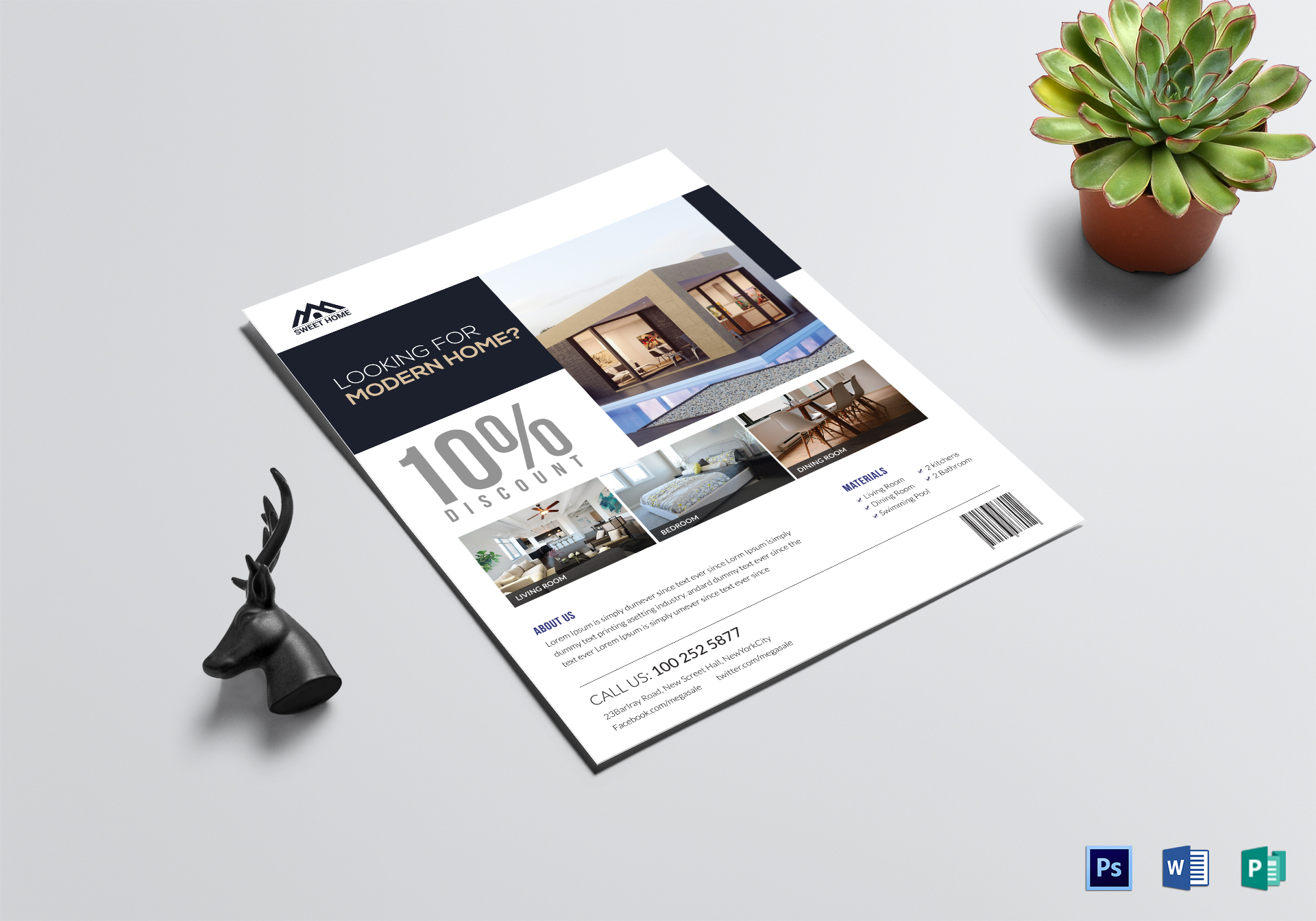 Modern Home Sale Flyer Design Template In PSD Word Publisher - Home for sale flyer template word