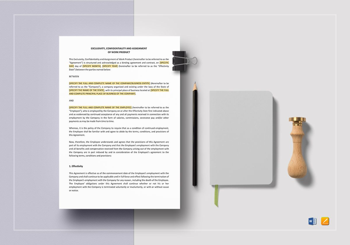 Exclusivity Confidentiality And Assignment Of Work Product Template