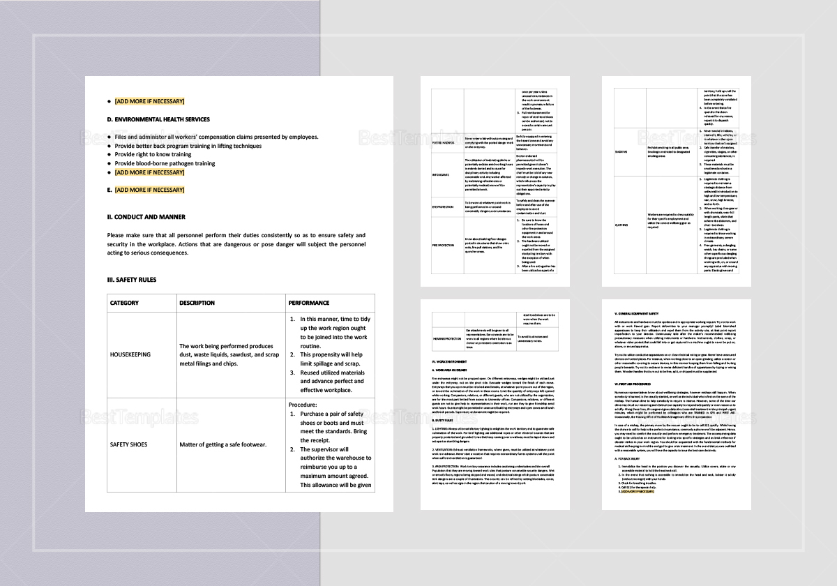 Sample General Safety Rules Template