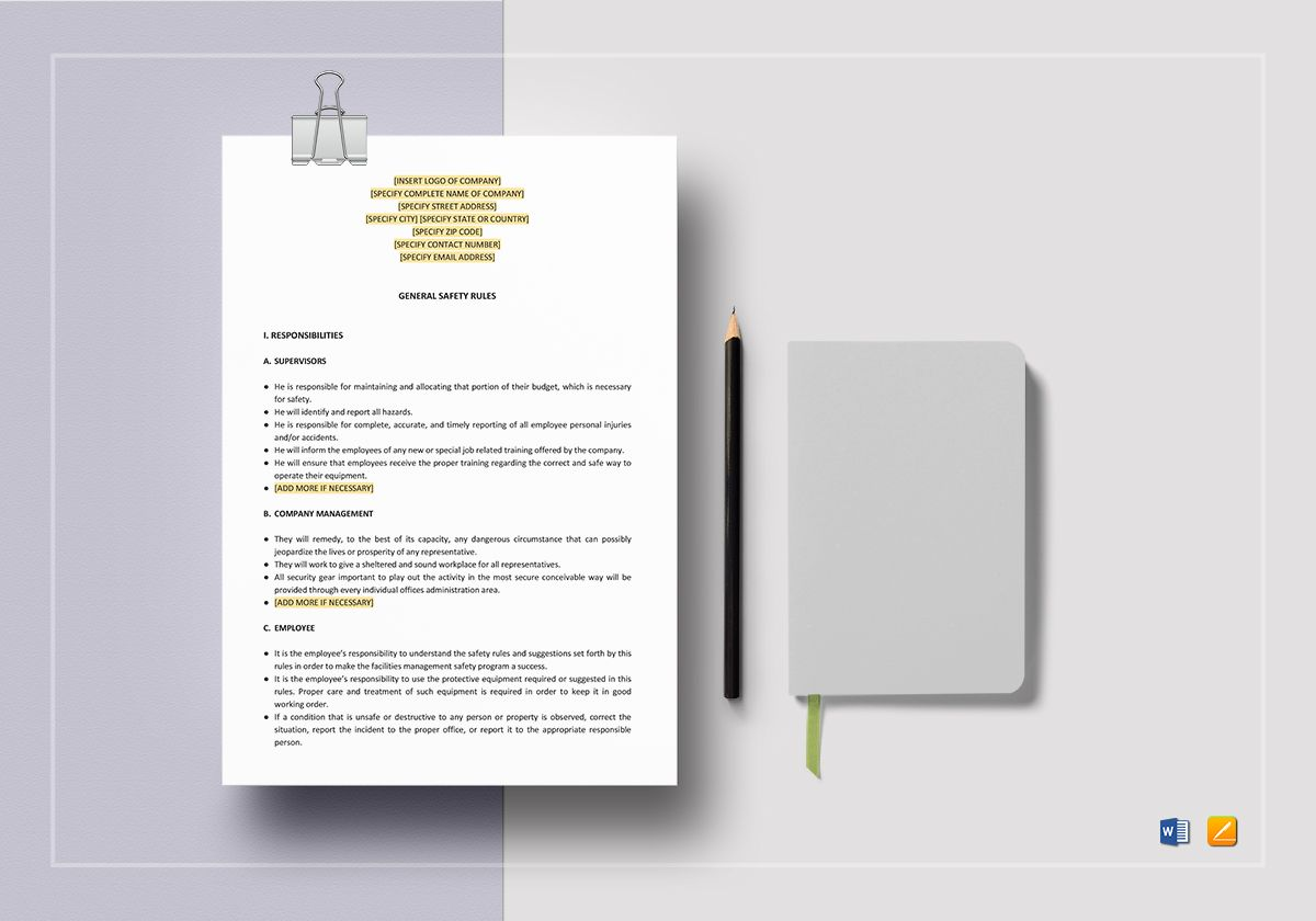 General Safety Rules Template
