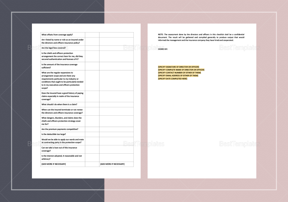 Directors and Officers Insurance Checklist Template