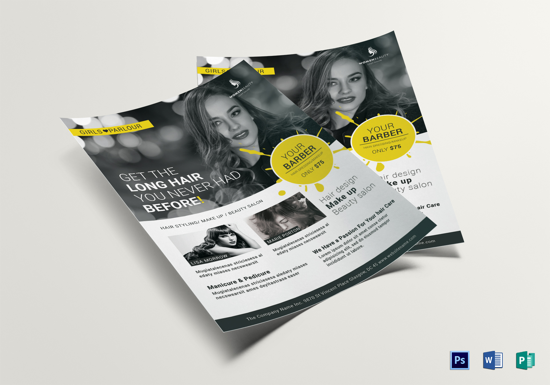 Beauty Barber Flyer Design Template in PSD, Word, Publisher