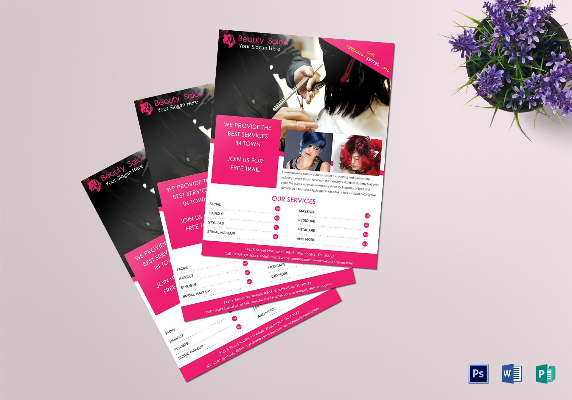 Beauty salon flyer design template in psd word publisher beauty salon flyer beauty salon flyer template maxwellsz