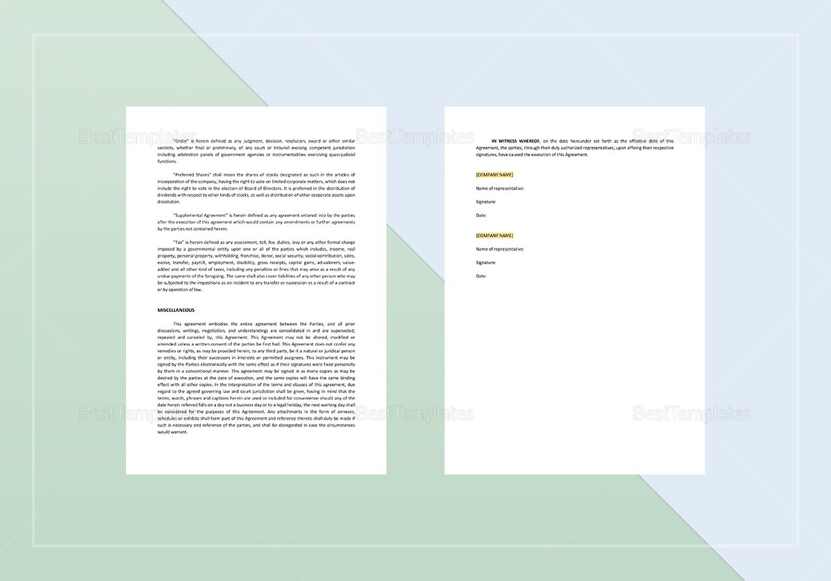 Sample Purchase and Sale of Shares Agreement Template