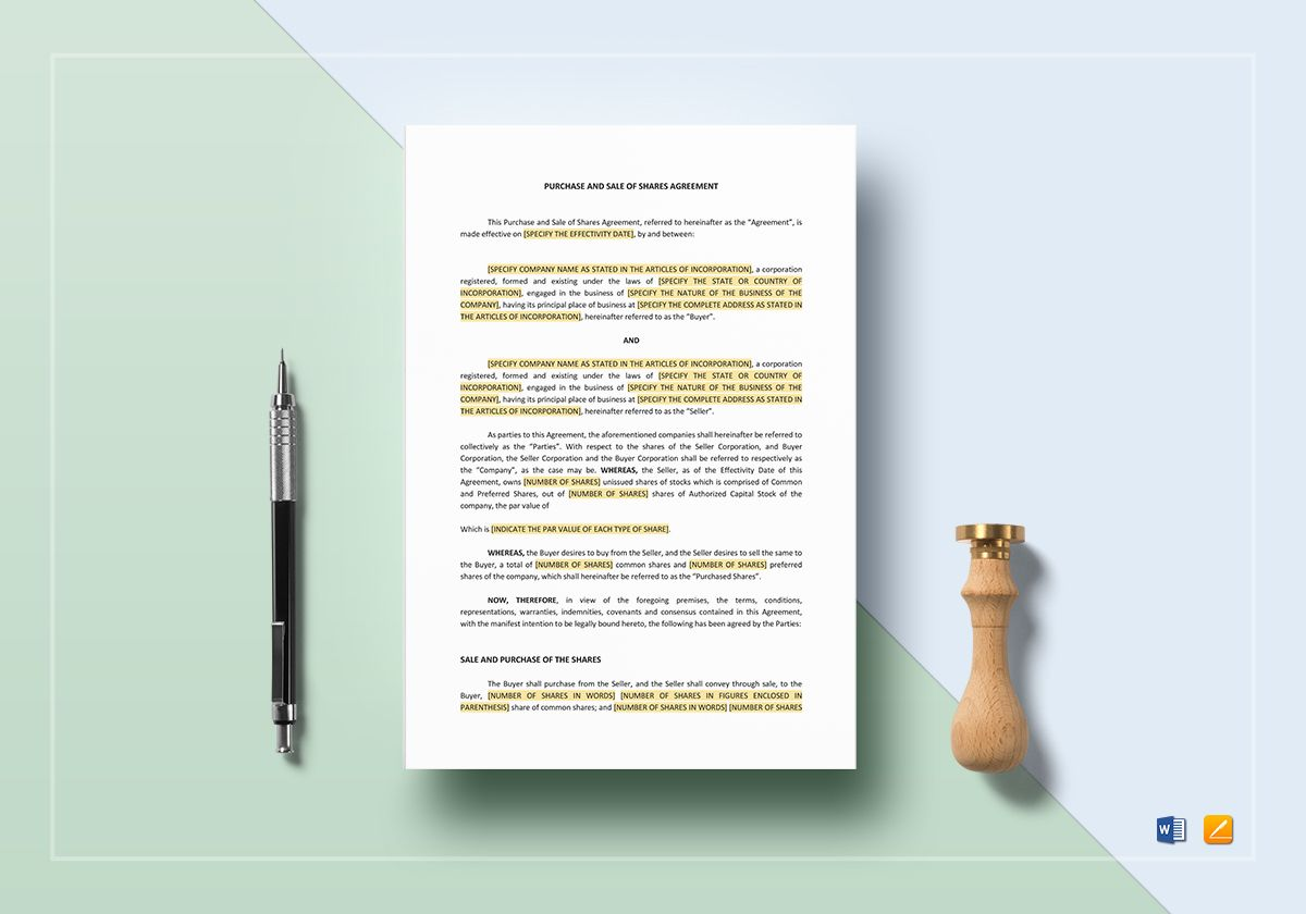 Purchase and Sale of Shares Agreement