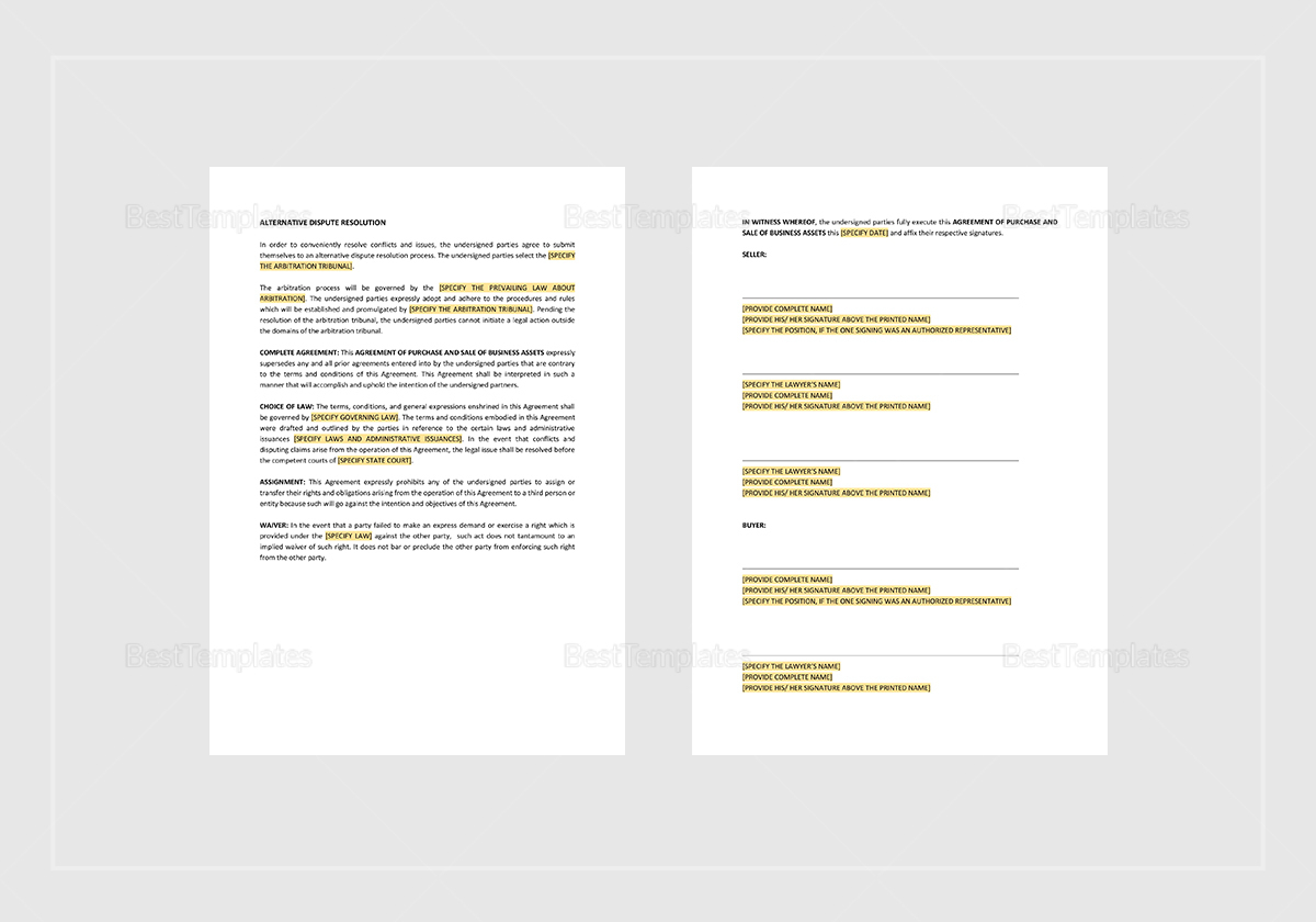 Sample Agreement of Purchase and Sale of Business Assets Template
