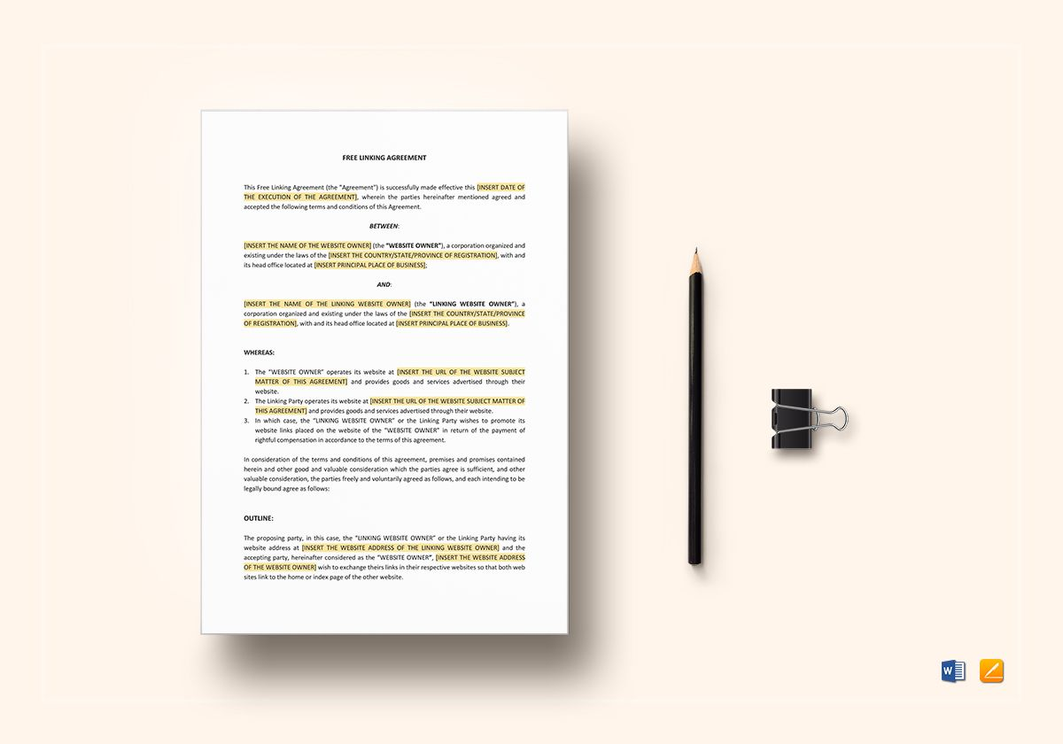 Free Linking Agreement Template