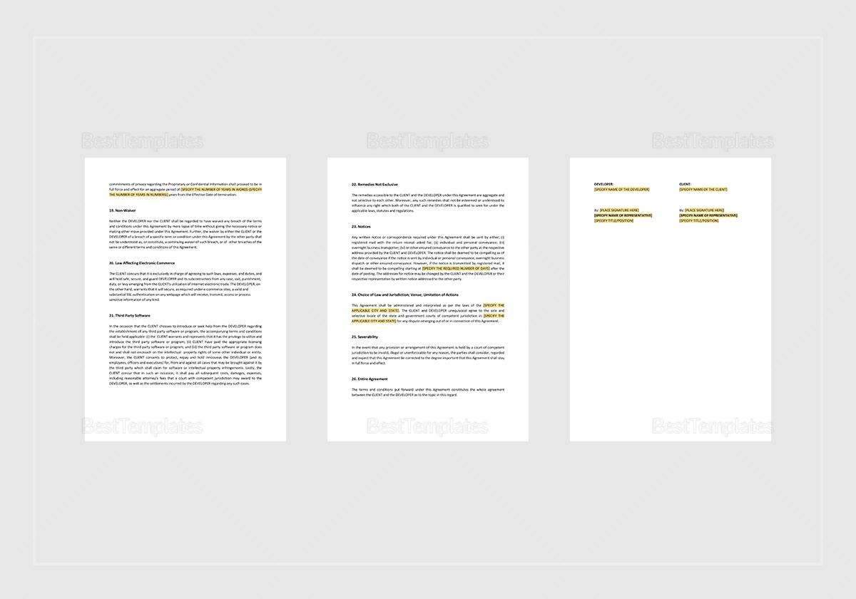 Sample Development Agreement General Template