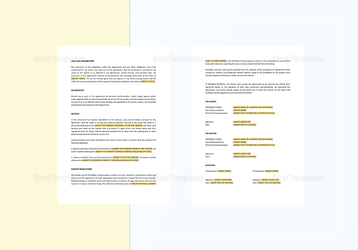 Sample Security Agreement and Promissory Note Template