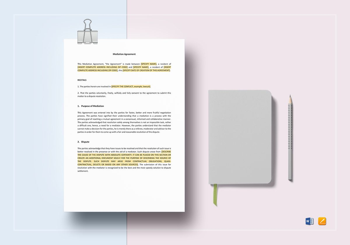 Mediation Agreement Template in Word, Apple Pages