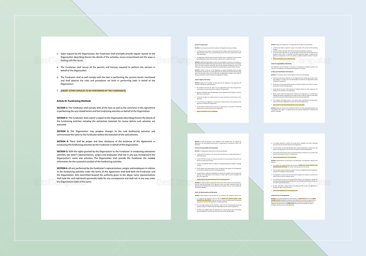 Sample Fundraising Agreement Template