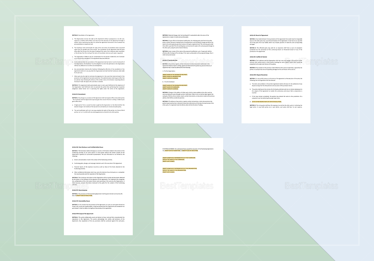 Simple Fundraising Agreement Template