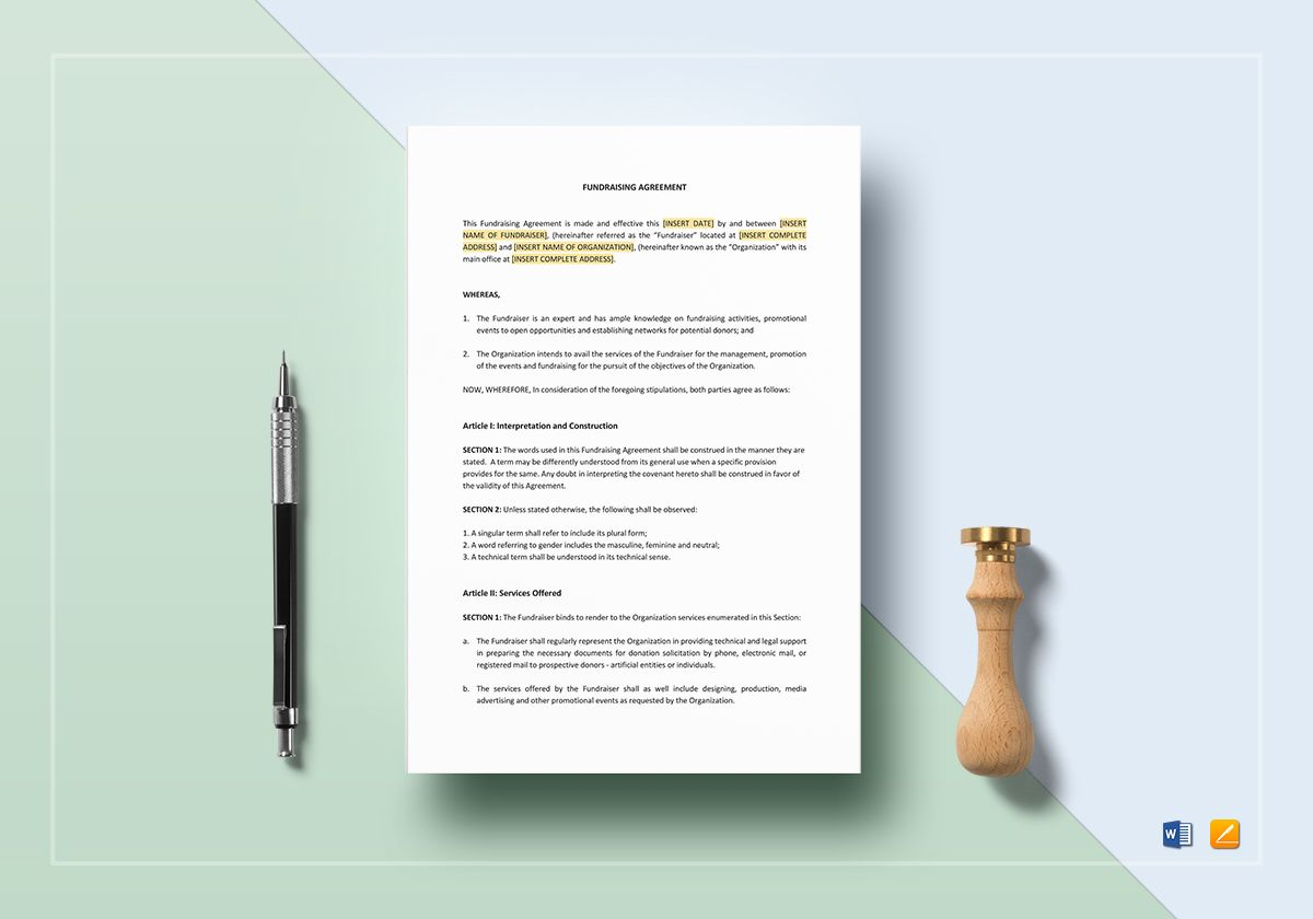 Fundraising Agreement Template