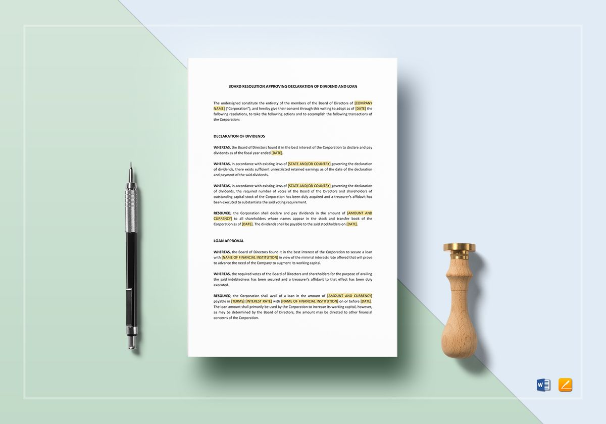 Board Resolution Approving Declaration of Dividend & Loan