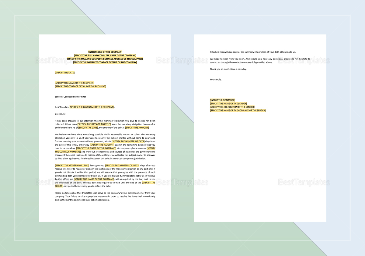 Sample Collection Letter Final Template