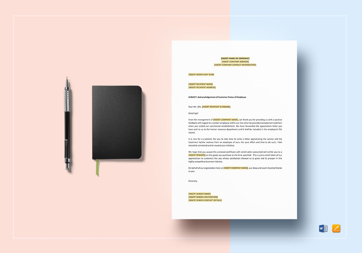 Acknowledgement of Customer Praise of Employee Template