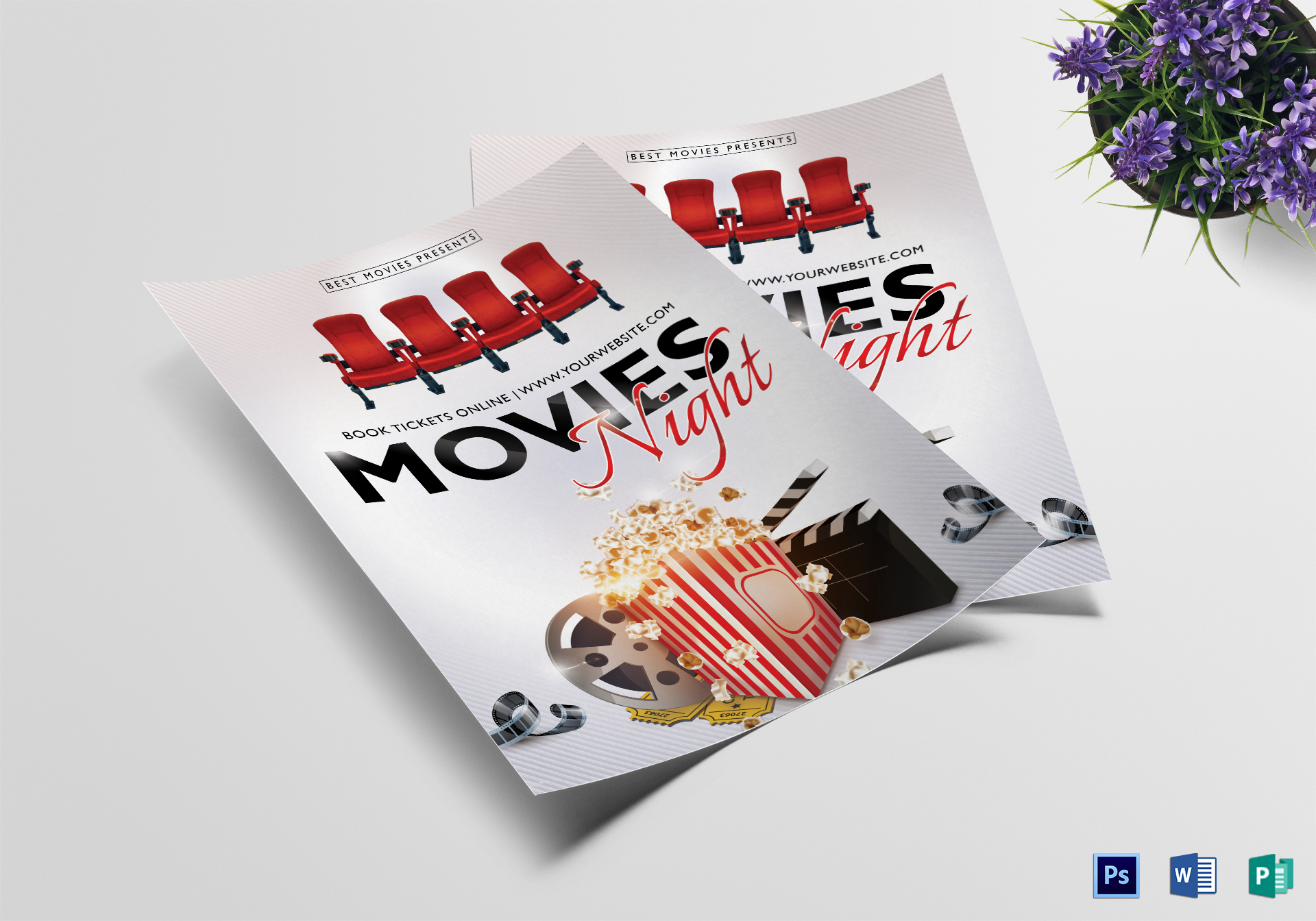 Best Movie Night Flyer Design Template In Psd Publisher Word